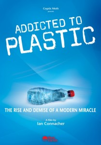 Film cover for Addicted to Plastic, a crushed plastic waterbottle