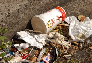 Mcdonalds cup and other litter on the side of the road