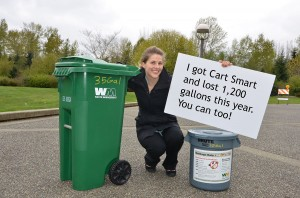 """A sign that says """"I got cart smart and lost 1200 gallons this year. You can too!"""""""