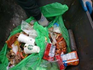 Yard Waste contaminated with starbucks cups, chip bags and other things.