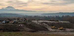 Active landfill cell at Cedar Hills in front of Mount Rainier.