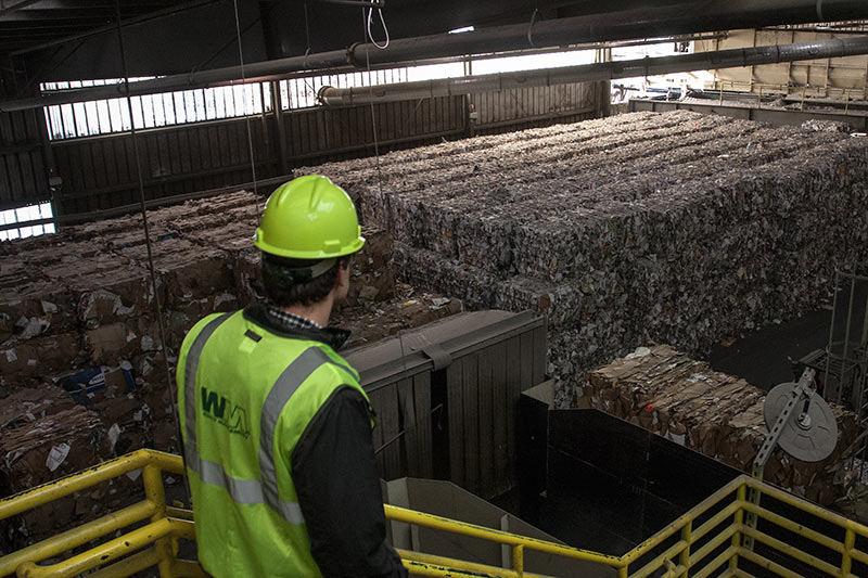 bales of mixed paper and plastics ready to be sold