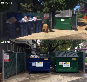 Before and After waste enclosure area