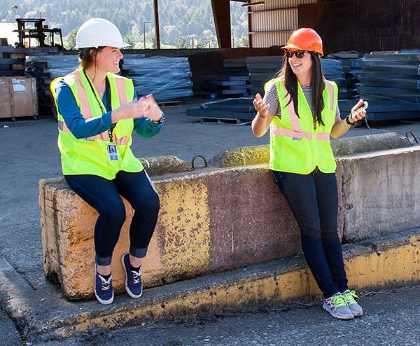 recycling staff doing organics audit