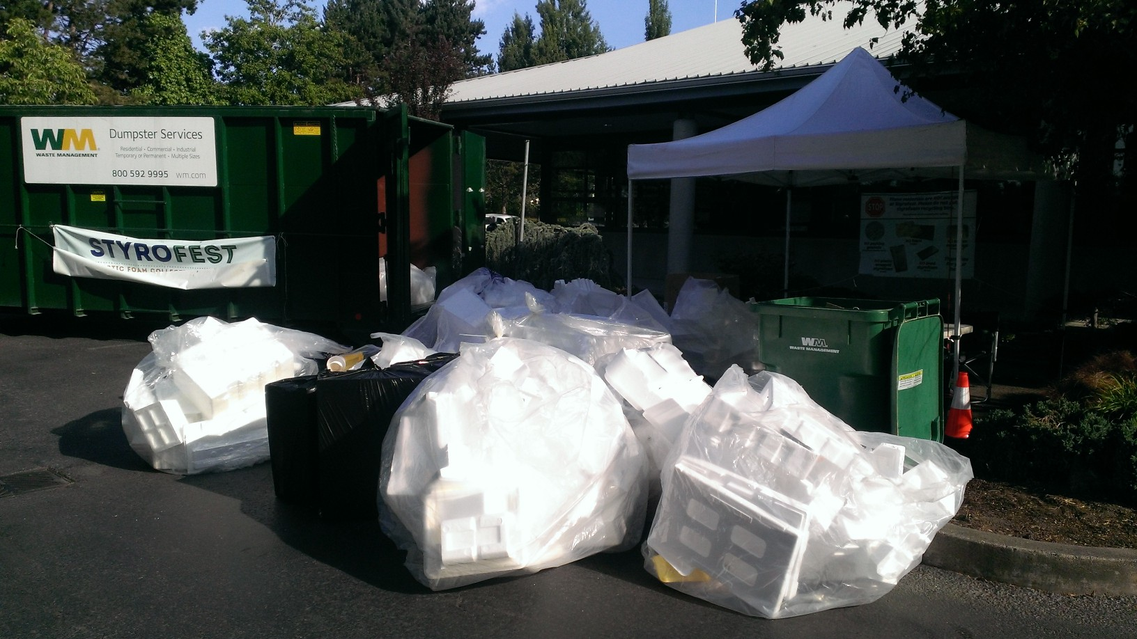 Bagged styrofoam for recycling collected in June 2015